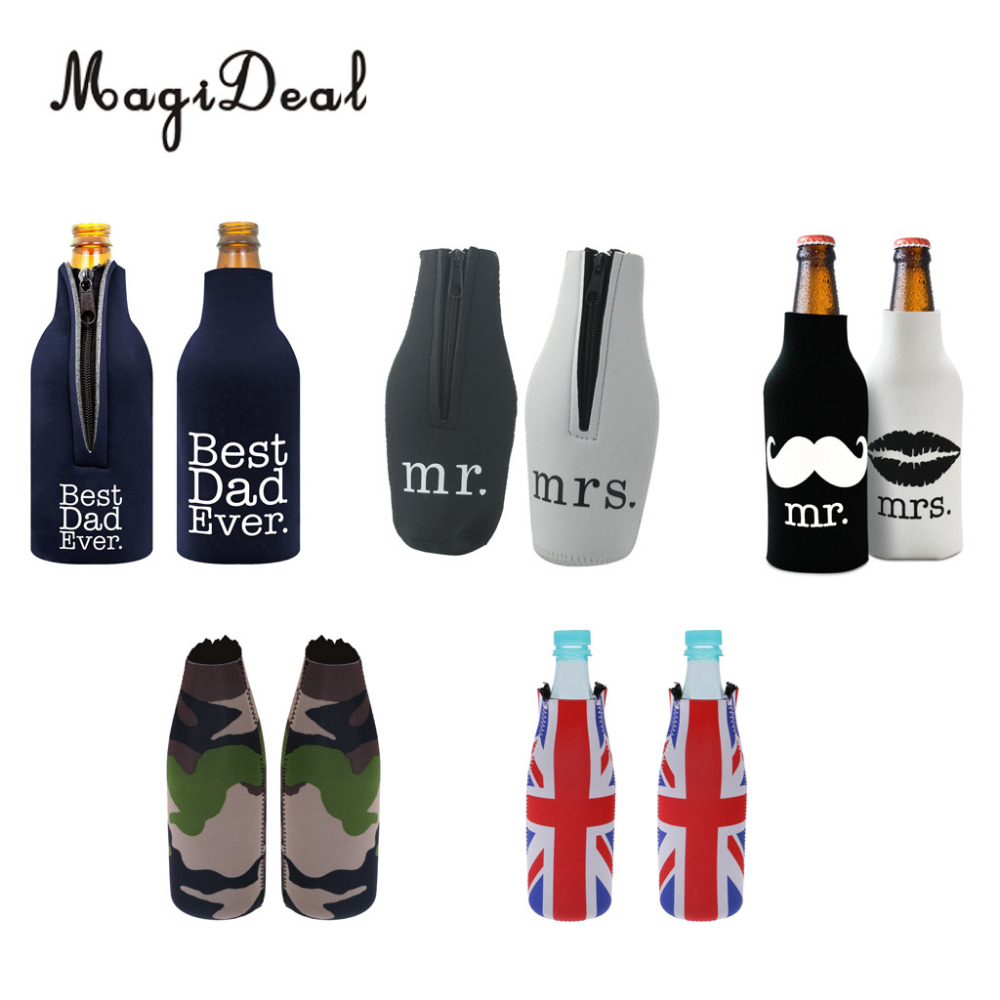 MagiDeal 2pcs Beer Can Bottle Cooler Sleeve Wrap Holder Wedding Party Decor Favors Gifts(China)
