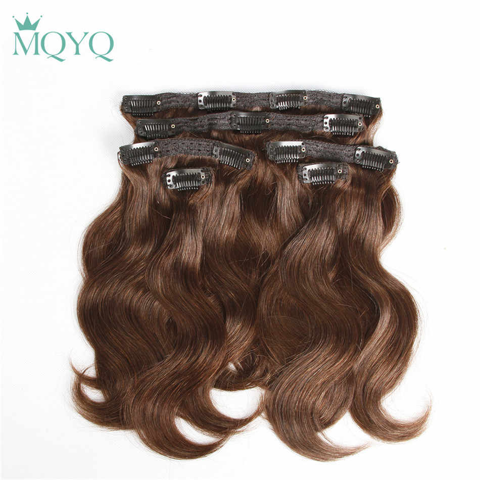MQYQ Hair Body Wave Clip in Hair Extensions #2 Dark Brown 100% Real Human Hair 6pcs Brazilian Clip on Hair Extension