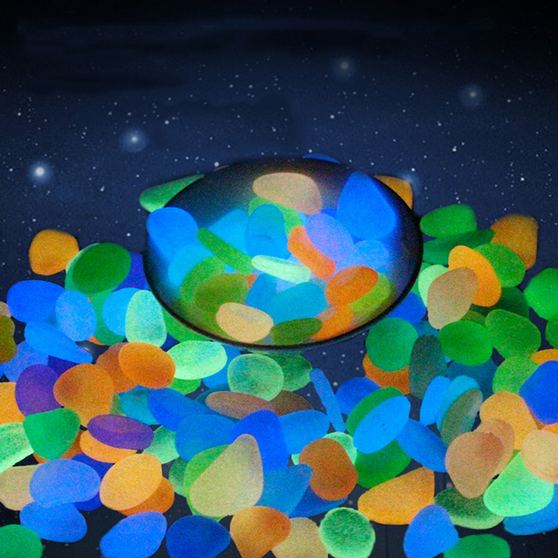 10Pcs Glow in the Dark Garden Pebbles Glow Stones Rocks for Walkways Garden Path Patio Lawn Garden Yard Decor Luminous stones