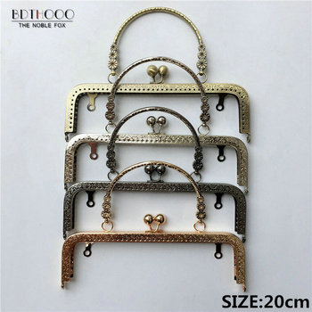 BDTHOOO 10pcs 20cm Metal Handle Sewing Purse Frames Antique Bronze Silver Golden Kiss Clasp Bag accessories 3 Small Flower