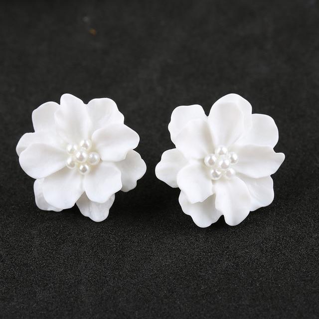 New 1 Pair New Fashion Big White Camellia Flower Earrings For Women  HE73