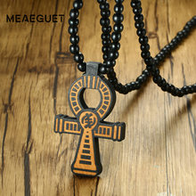 Meaeguet Carving Ancient Egypt Ankh Pendant Necklace For Men Amulet With 8mm Wood Beads Chain Length -90CM(China)