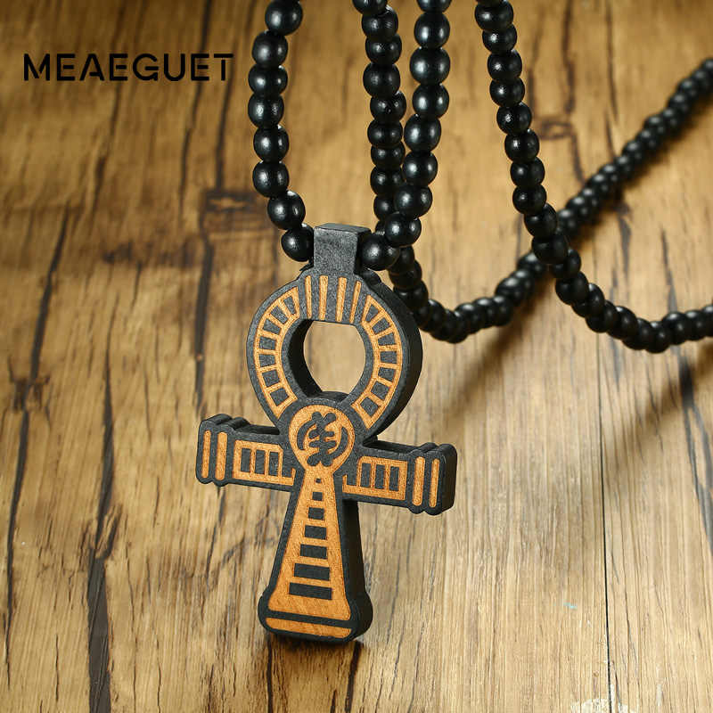 Meaeguet Carving Ancient Egypt Ankh Pendant Necklace For Men Amulet With 8mm Wood Beads Chain Length -90CM