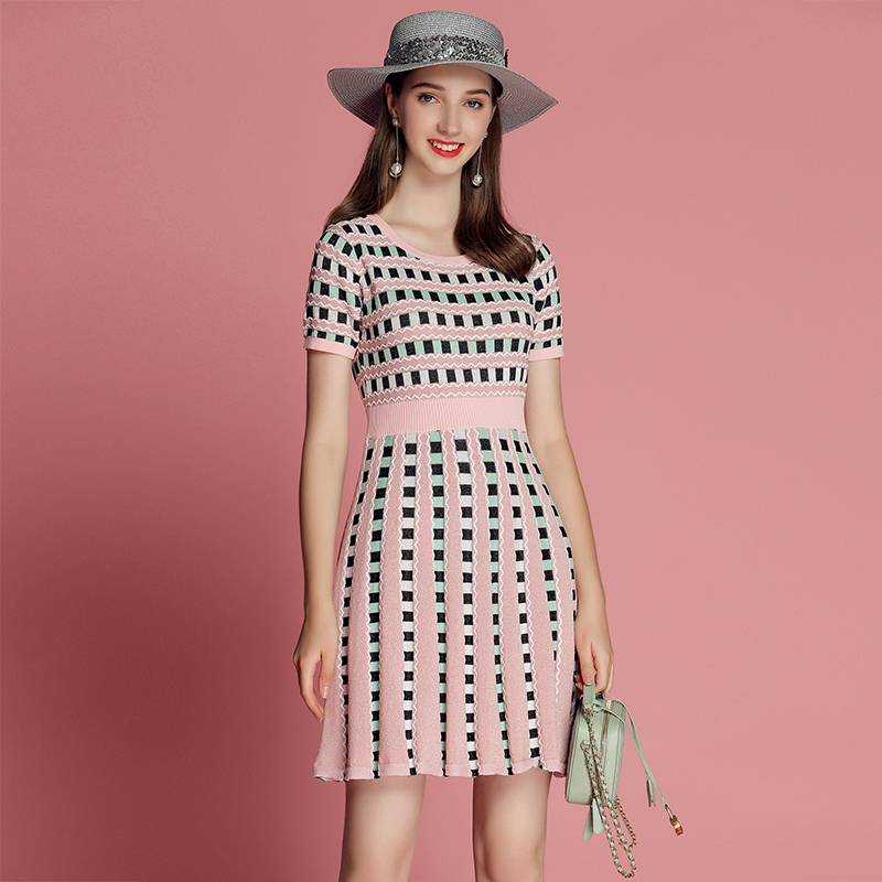 2019 Women s Summer Knitted Dress Women Round Neck Plaid Chic Pink Short Sleeve A line