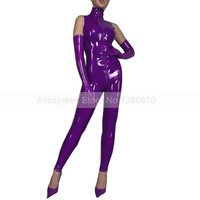 Latex Female Purple Sleeveless Bodysuit and Long Gloves Tights Rubber Latex Catsuit with Front Zip S LC288