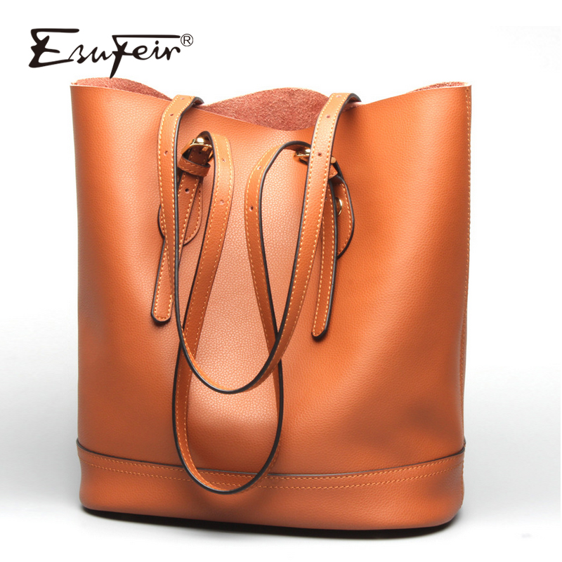 ESUFEIR Brand Casual Tote Bags Genuine Leather Women Handbag Large Capacity Shoulder Bag Fashion Designer Purses Crossbody Bag esufeir genuine leather handbag for women fashion brand designer shoulder bags cow leather crossbody bag ladies trapeze tote bag