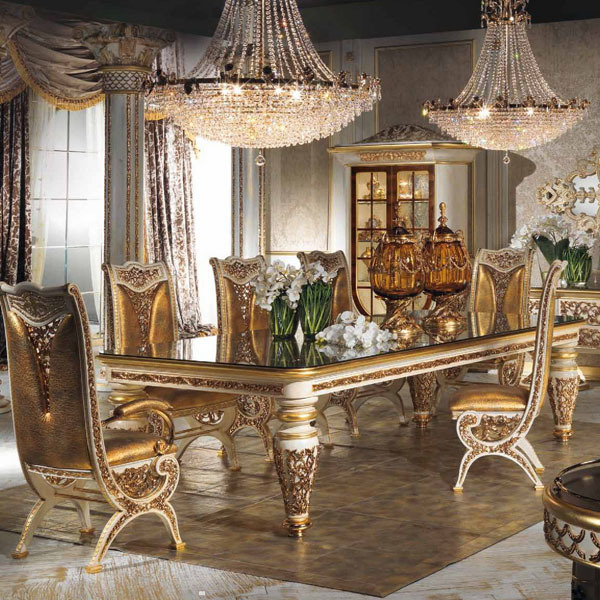 Anime Royal Dining Room: European Style Refined Wood Carved Decorative Dining Room