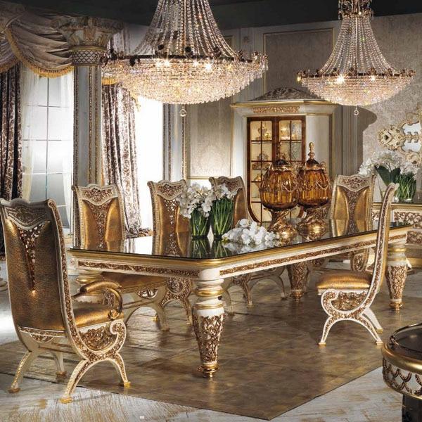 Stile europeo legno raffinato intagliato decorativo sala da pranzo ...
