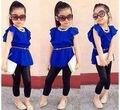 2016 Niñas Ropa de Bebé Niño de Los Cabritos Muchachas Azul Marino Tops Camisa + Pantalones de Las Polainas 2 unids Traje Set Trajes