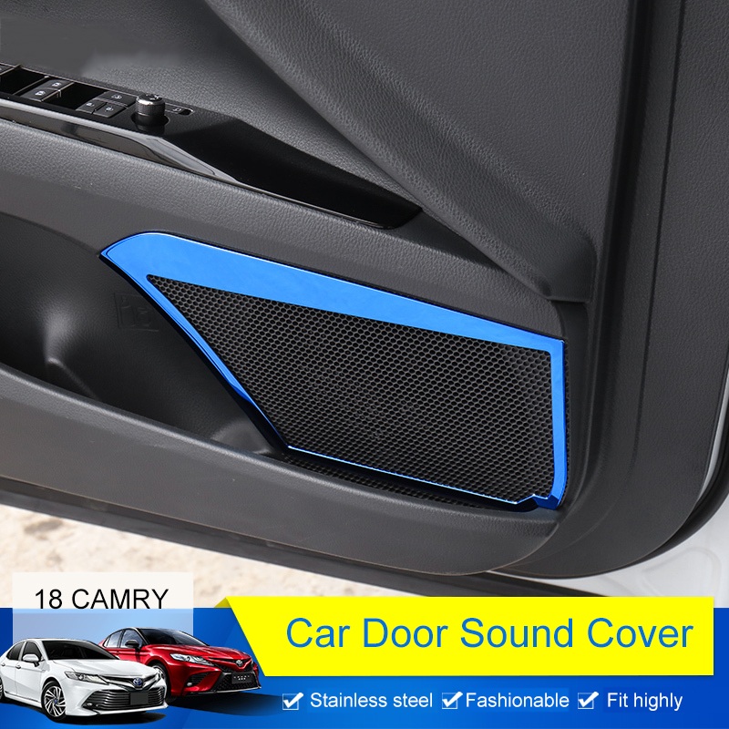 QHCP 4Pcs Stainless Steel Car Door Speak Sound Cover Door Audio Speaker Decorative Frame Car-styling Fit For Toyota Camry 2018 for volkswagen vw golf 7 mk7 2013 2014 2015 stainless steel car speaker cover door bottom audio sound frame case accessories