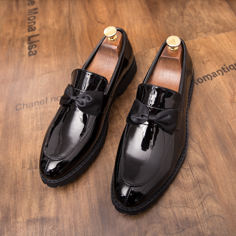 formal men leather shoes male trend Bow slip on footwear cool italian luxury brand wedding dress moccasins oxford shoes for men (34)