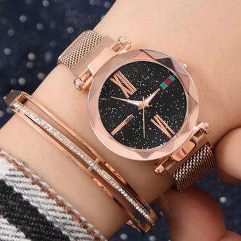 Luxury Women Watches Fashion Ladies Watch Gift for Women Stainless Steel Rose Gold Diamond Starry Sky Quartz Wristwatches Clock