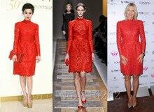 Vestidos para festa Kleid Für Prom Abendkleider A-linie Red Spitze Prom Kleid Knie-länge Long Sleeves brautkleider 2015