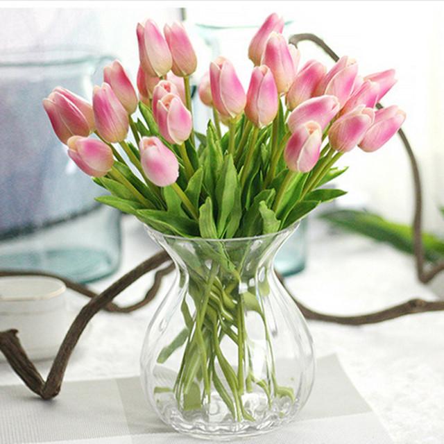 Nienie 1PC PU tulipany sztuczne kwiaty Real Touch artificiales para Decora mini Tulip dla domu ślub dekoracji kwiaty tanie i dobre opinie Masz 1 sztuk tulipan dla kochanka lub matka lub przyjaciele Głowa kwiatka Ślub dzień matki Walentynki na imprezę lub ślub dekoracji kwiat