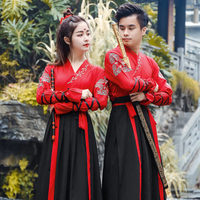 Ancient Hanfu Outfit Women Classical Dance Dress Performance Stage Fairy Princess Skirts Long Sleeve Men Embroidery Tang Costume