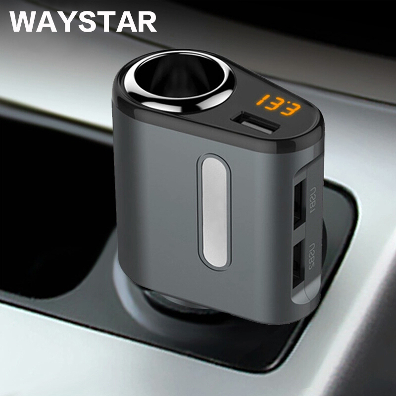 WAYSTAR Quick Charge 5V 3.1A 3 Ports USB Car Charger For iPhone iPad Samsung 12V-24V Car Cigarette Lighter Socket Adapter Charge