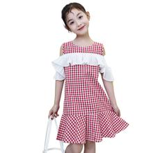 Kids Girl Simple Plaid Dress Lotus Leaves Skirt Hem Sweet Dress