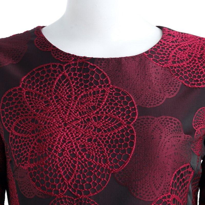 ผู้หญิงแขนยาวยาว Maxi ชุดฤดูหนาวฤดูใบไม้ร่วง Elegant Burgundy ดอกไม้ Jacquard lady ฤดูใบไม้ร่วง Boho Vintage แฟชั่น Plus ขนาด-ใน ชุดเดรส จาก เสื้อผ้าสตรี บน   3