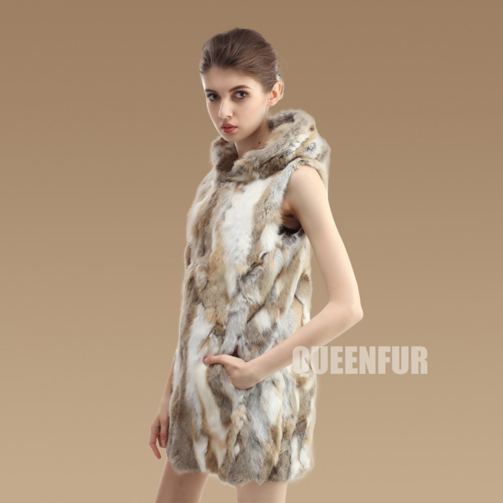 Женский вязаный жилет из натурального кроличьего меха, новинка, модное женское пальто без рукавов с капюшоном Md-long, тонкая теплая куртка ZL3322