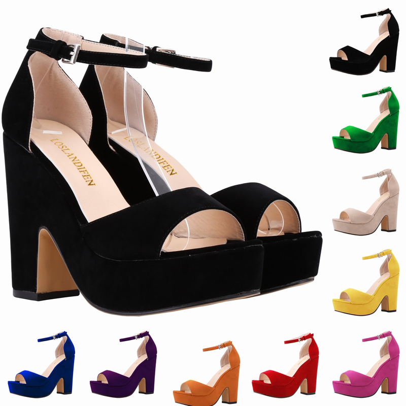 ФОТО Women Pumps Fashion Sexy High Heels Shoes 14CM  Fashion Wedding Party Shoes female footwear chaussure femme Red Thick  Bottom