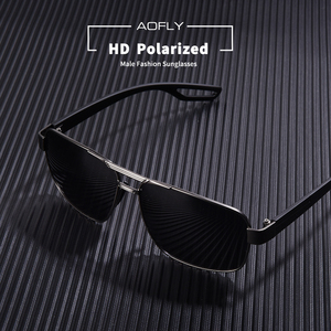 Image 3 - AOFLY 디자인 남자 편광 된 선글라스 금속 남자의 태양 안경 운전 광장 음영 Oculos masculino 남성 안경 고글 AF8194