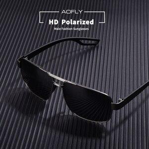 Image 3 - Aofly design masculino óculos de sol polarizados óculos de sol de metal masculino óculos de condução quadrados oculos masculino óculos goggle af8194
