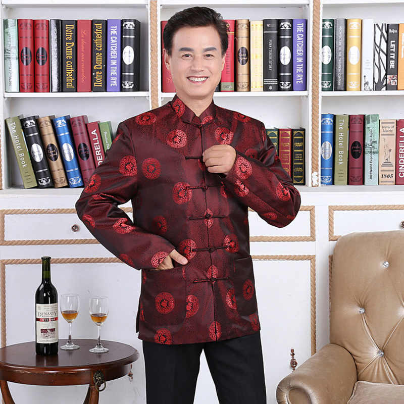 1a84af5d25 Lovers Dress Longevity Wedding Traditional Chinese Male Clothing Folk  Clothes Black Suit Red Shirt Mens Tunic