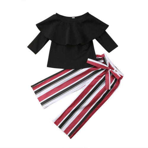 1-6Y Baby Girls Summer Ruffled Outfits Off Shoulder T-shirt Tops+Striped Long Pants 2PCS Set Clothes Casual Fashion