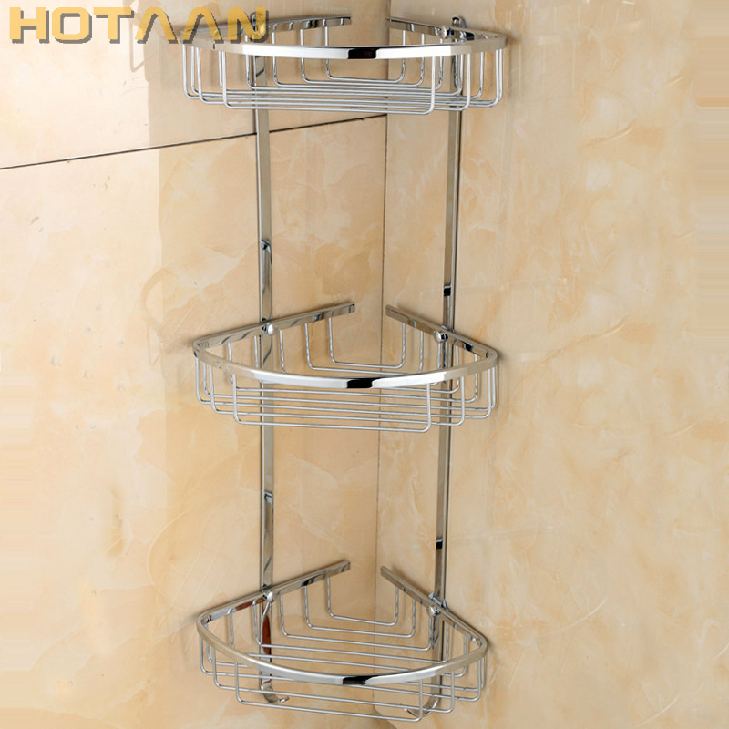 Free Shipping Wall Mounted chrome finish brass Bathroom Shower shampoo Shelf  Basket Holder Fashion Three Layers YT-7016 black bathroom shelves stainless steel 2 tier square shelf shower caddy storage shampoo basket kitchen corner shampoo holder
