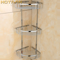Free Shipping Wall Mounted chrome finish brass Bathroom Shower shampoo Shelf Basket Holder Fashion Three Layers YT 7016