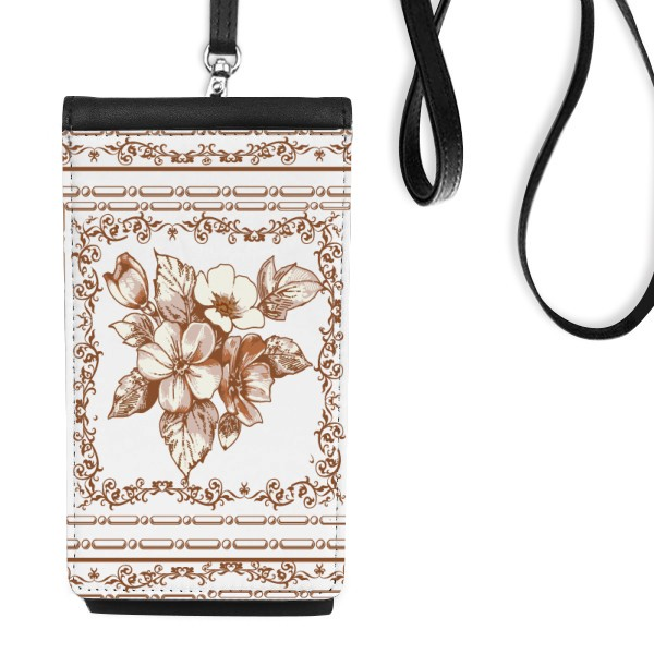 Baroque Art Flower Leaf Frame Modern Illustration Pattern Leather Hanging Purse Wallet for iphone xs max case 78 plus luxury
