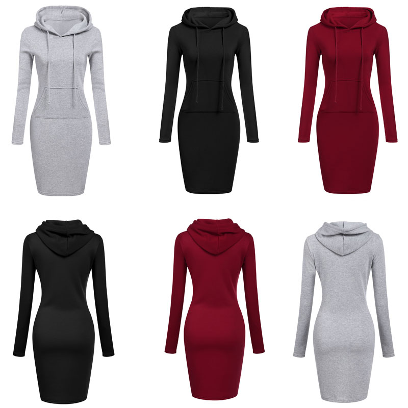 HTB1prlIXgmH3KVjSZKzq6z2OXXa4 High Quality 2019 New Hot Sale Fashion Women's Casual Style Hooded Hoodie Long Sleeve Sweater Pocket Bodycon Tunic Dress Top