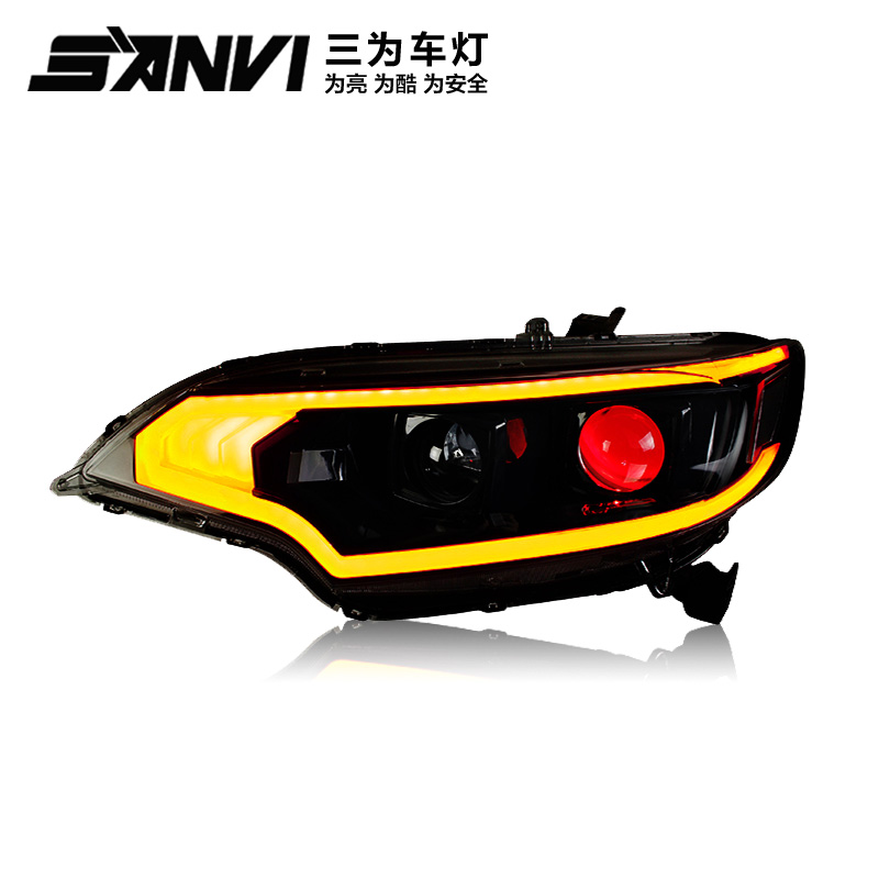 Sanvi Car styling Headlamp for 2014-2017 Honda Fit GK5 jazz Headlight Assembly LED DRL Double Beam HID Xenon 2pcs hireno headlamp for 2003 2009 toyota land cruiser prado headlight assembly led drl angel lens double beam hid xenon 2pcs