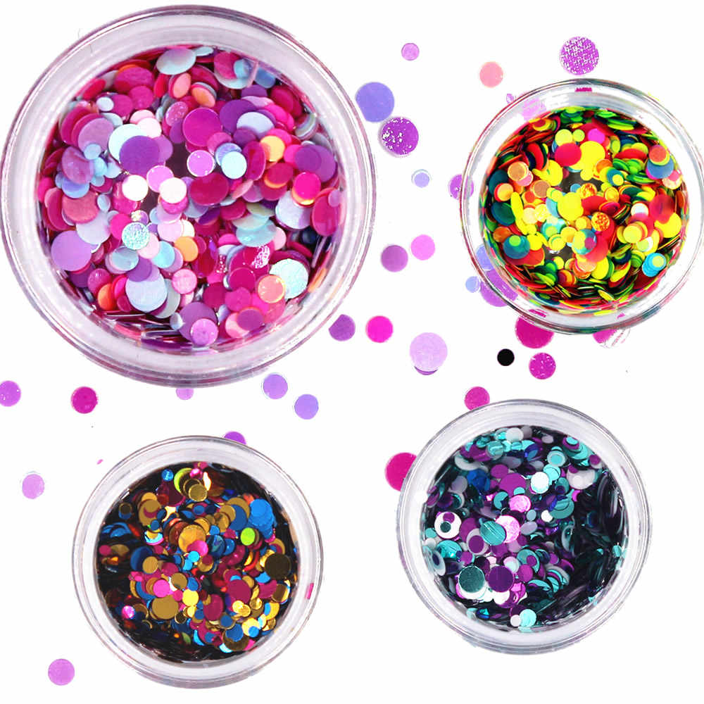 1 Bottle Shiny Round Ultrathin Sequins Colorful Nail Art Glitter Tips UV Gel 3D Nail Decoration Manicure DIY Accessories 2017new