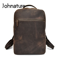 Johnature 2019 New Vintage Genuine Leather Men Backpack Crazy Horse Leather Waterproof Wear Resistant Leisure Laptop Backpack