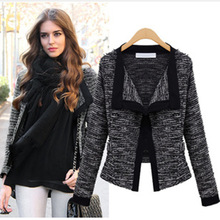 S-XL New 2014 Europe and America women's knitting wool suit jacket fashion Lapel blazers