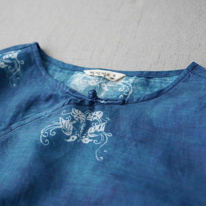 Kadın Giyim'ten Bluzlar ve Gömlekler'de Yaz Kadın Rahat Gevşek Artı Boyutu Vintage Çin Tarzı Düğmeler Baskı Rahat Temel Ince Rami Kazak Gömlek/Bluzlar'da  Grup 3