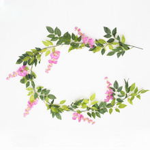 2M Flower String Artificial Wisteria Vine Garland Plants Foliage Outdoor Home Trailing Fake Hanging Wall Decor