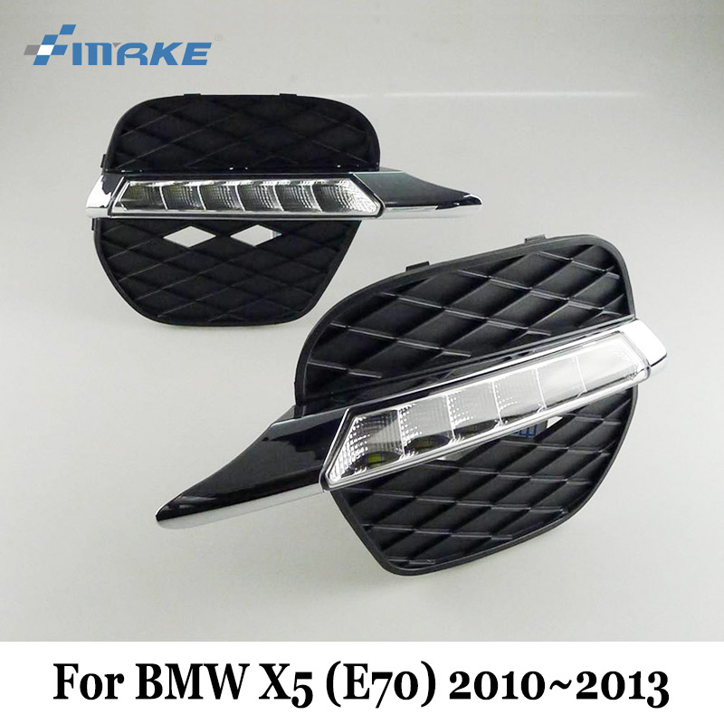 SMRKE DRL For BMW X5 (E70) 2010 2011 2012 2013 / 12V Car LED Daytime Running Lights / Car Styling Day Driving Lamp Free shipping dongzhen 1 pair daytime running light fit for volkswagen tiguan 2010 2011 2012 2013 led drl driving lamp bulb car styling