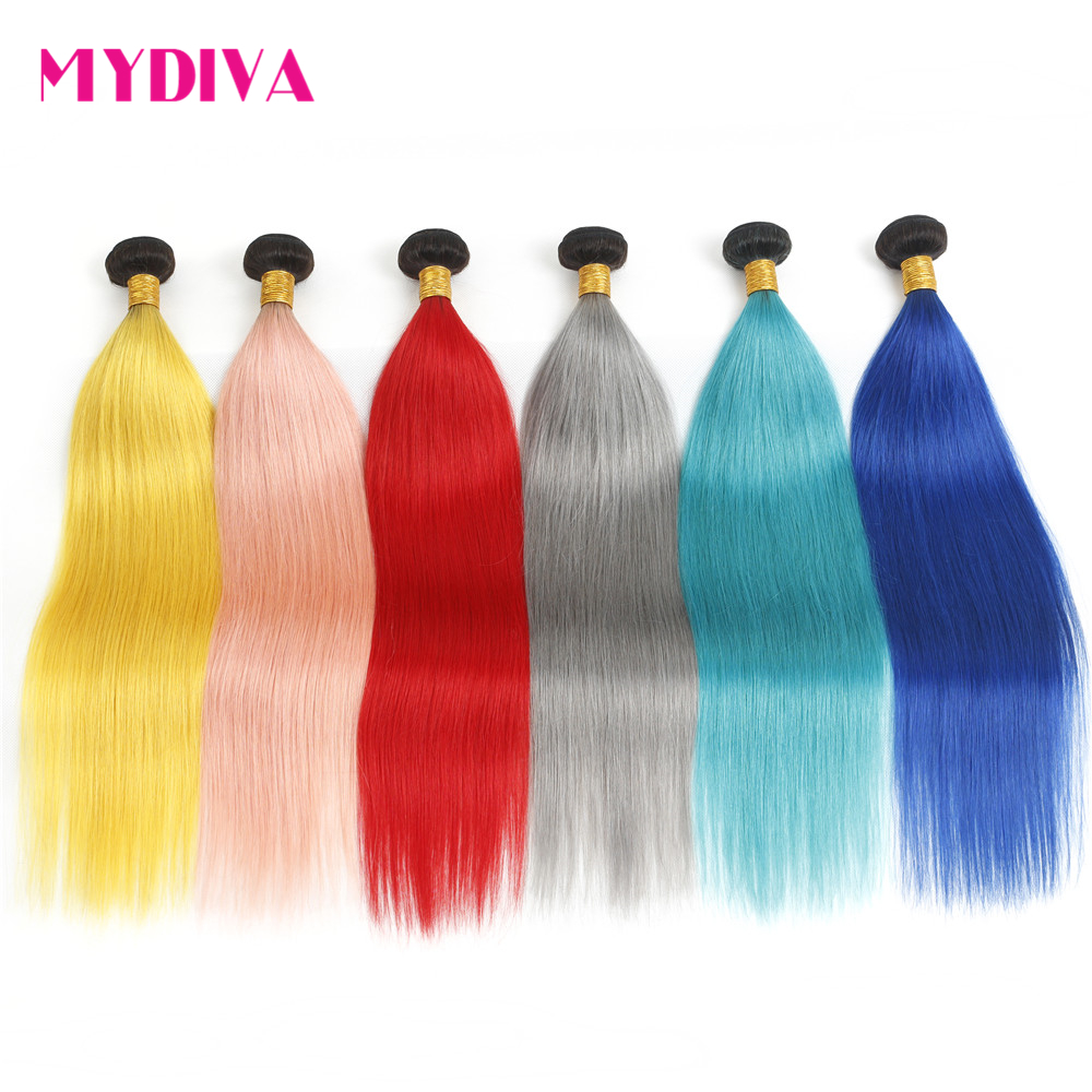 Brazilian Straight Hair Weave Bundles 3PCS Dark Root Ombre Pink Grey Blue Ombre Human Hair Pre-Colored Non Remy Hair Extensions