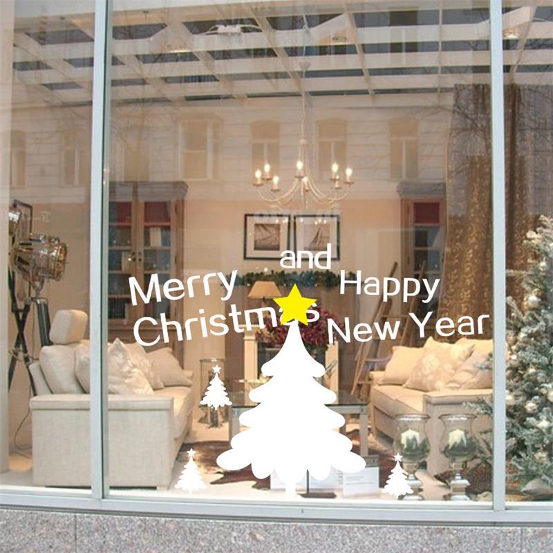 Feliz Natal feliz ano novo árvore estrela Loja Casa Decoração vidro da janela adesivos decorativos decalques xmas66