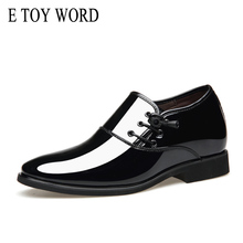 E TOY WORD 2018 fashion pointed shoes men's business casual shoes British style trend hair stylist patent leather men shoes