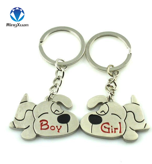 Hot Sale Mingxuan 1pair Couple Keychain Dog Key Ring Silver Plated