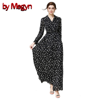 By Megyn 2017 Runway Fashion Women S Long Sleeve Turn Down Collar Vintage Black And White