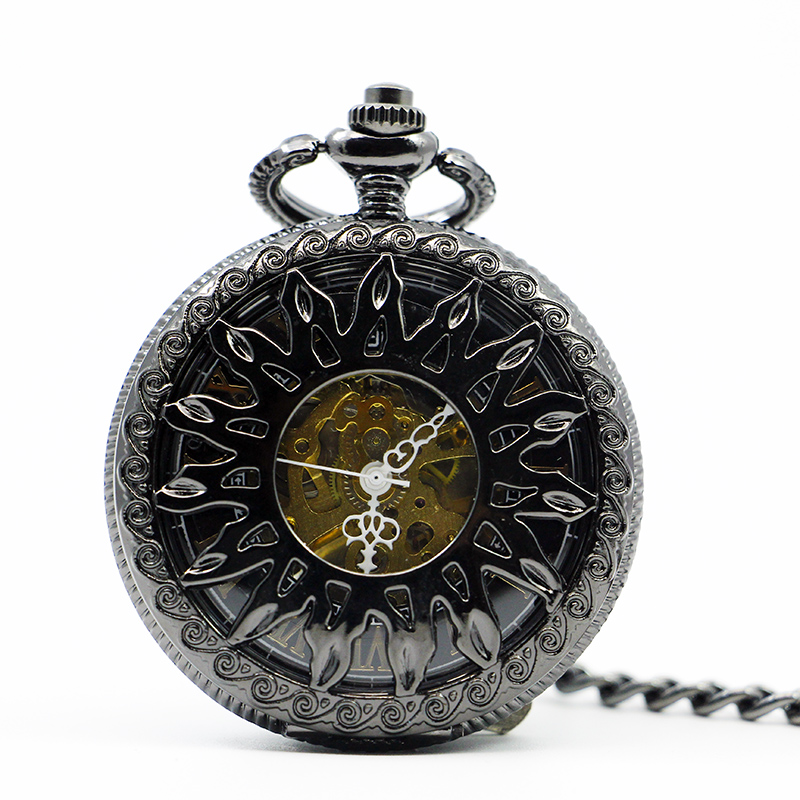Fashion Flower Sun Hollow Case Design Skeleton Mechanical Pocket Watch Gift Black Dial For Men Women PJX1223