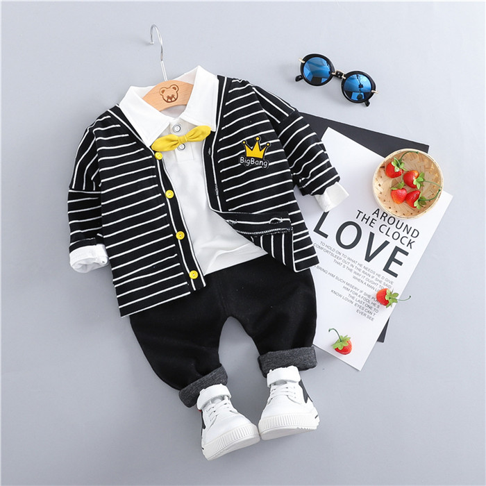 Baby boy clothes spring and autumn children's clothing new cotton warm striped casual sweatshirt cardigan baby three-piece suit