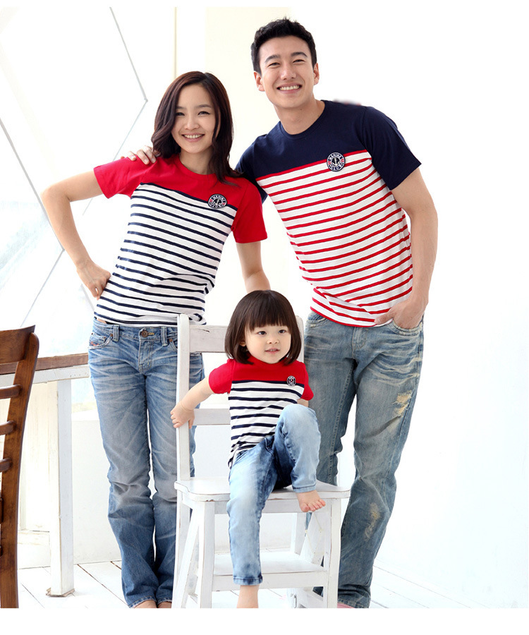 2017 Family fashion Summer family pack cotton set clothes, mother and daughter+father striped tees short-sleeve cotton T-shirt