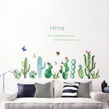 Cacto fresco Adesivos de Parede Planta Verde Decal Mural Art adesivos de Vinil Decalques Home Decor(China)
