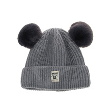 High Quality Autumn Winter Warm Baby Boy Girl Cashmere Knitted Cap Toddler Wool Cute Mouse Ear Style