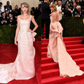 Custom Made Met Gala Red Carpet Pale Pink Straight with Bow Embroidery Satin Long Celebrity Dresses 2014 vestido de festa